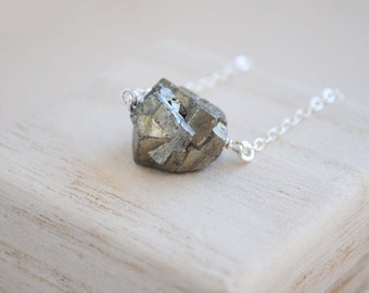 Pyrite Necklace, Pyrite Nugget Necklace, Pyrite Pendant Necklace, Pyrite Jewelry
