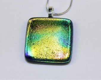 Handmade Dichroic Fused Glass Necklace - Yellow and Green Fused Glass Pendant w/Chain