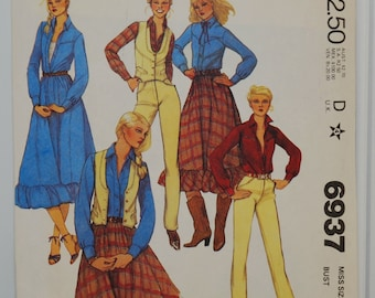 McCall's Pattern 6937 (c. 1980) Misses Size 12 Retro Country Western Coolness, Misses' Vest, Shirt, Skirt & Pants, Sewing Project