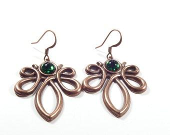 Dangle Copper Earrings with Green Swarovski Crystal Cabochons, Art Nouveau Style Earrings, Vintage Style Twist Earrings