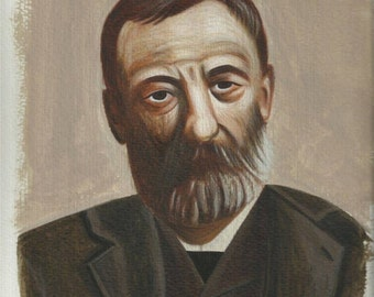 A. Papadiamantis - Original egg tempera painting on paper, portrait