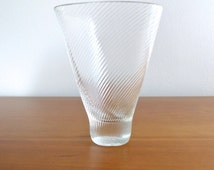 Sale - Mid Century Modern Clear Glass Vase with Striped Ridges - Possibly Scandinavian