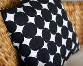 Large Black Dot Pillow Cover - 18X18
