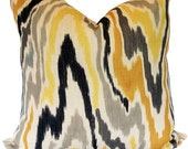 pillow cover, Home decor custom gray, yellow and black ikat pillow cover