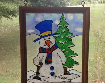 Snowman Frosty - Stained Glass Look - Snowman Stain Glass Look Framed Art - Window Holiday Decor - Christmas Home Decor - Faux Stained Glass