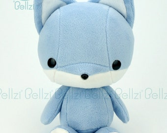 "Bellzi® Cute ""Blue"" w/ White Contrast Fox Stuffed Animal Plush - Foxxi"