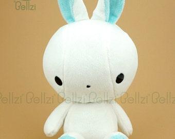 "Bellzi® Cute White ""Teal"" Contrast Bunny Plushie Toy Plush Doll - Bunni"