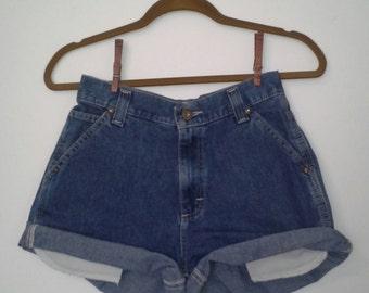 SALE * Vintage High Waisted Lee Dungarees Dark Blue Denim Shorts