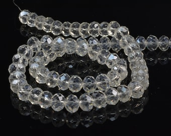 Crystal glass quartz, faceted rondelle, clear  bead, jewelry bead,  jewelry making, quartz bead, jewelry supply--15inch