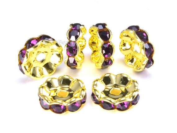 Purple rhinestone copper spacer beads spacer beads for for Rhinestone jewels for crafts