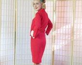 Vintage 60's Red Silk Mod Suit . Boxy Jackie O Jacket . Pencil Skirt . Nubby Tomato Red Silk . Custom Tailored . Hidden Passport Pocket .