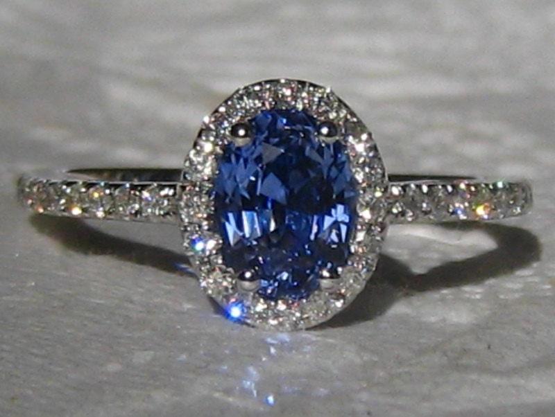Blue Sapphire Engagement Ring Cornflower Blue Ceylon Sapphire