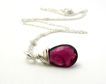 Pink tourmaline necklace, October birthstone jewelry, rubelite tourmaline pendant, pink gemstone jewelry, dark pink tourmaline jewelry