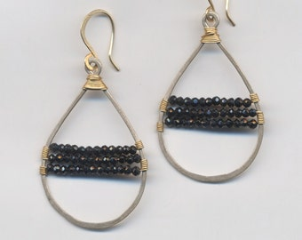 Sterling Silver Teardrop Earrings with 14kt Gold-fill wire wrapped Black Spinel
