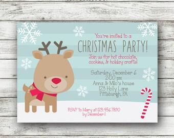 Kids Christmas Party Invitation - Christmas Party Invite - Christmas Party Printable - Holiday Open House - DIY Printable