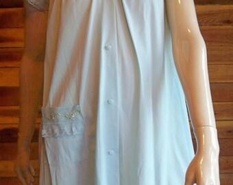 Vintage Lingerie 1960s SHADOWLINE Blue Petite Peignoir or Robe