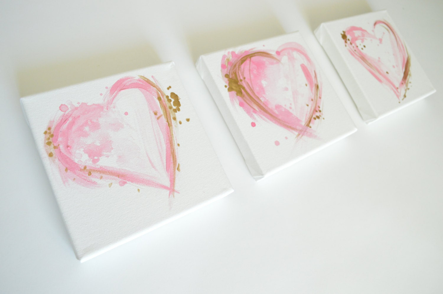 Pink And Gold Bedroom Decor Pink Heart Painting Etsy