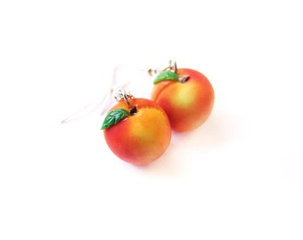 Peach Earrings, Miniature Food Jewelry, Polymer Clay Fruit, Georgia Peach Jewelry, Peach Dangle Earrings, Fruit Earrings, Miniature Fruit