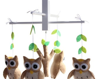 Brown Owl Mobile - Woodland Owl Nursery Mobile