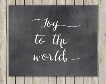 8x10 Christmas Printable, Joy To The World Art, Typography Print, Digital Art Print, Chalkboard Holiday Decor, Holiday Art, Instant Download