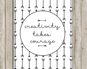 8x10 Creativity Takes Courage Printable, Typography Printable Art, Typography Print, Digital Poster, Home Decor, Instant Digital Download