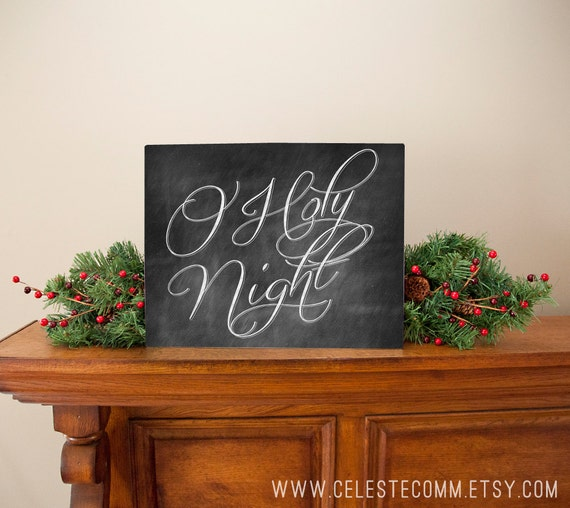 Large o holy night chalkboard inspired metal sign wall art for O holy night decorations