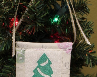 Christmas Tree Stamped Fabric Square Christmas Ornaments