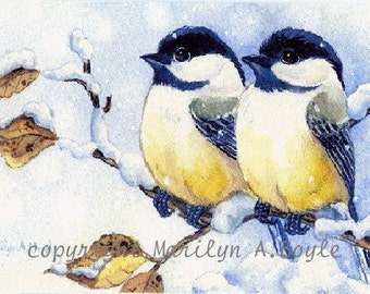 ACEO LIMITED EDITION Print; run of 5, chickadees, art, winter,snowing, wings, feathers, nature, wild life, birds, 2.5 x 3.5 inches,