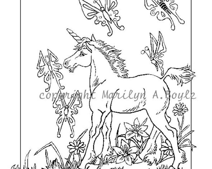 ADULT COLORING PAGE; digital download, unicorn foal, butterflies, ink drawing, original art, fantasy,
