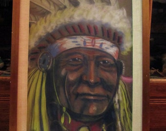 Vintage 1973' Signed Stan Matrunick Pastel Indian Chief