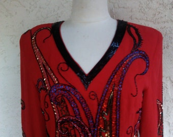Stunning 1980s Silk Beaded Dress By FABRICE Mint with Tags Sz 8