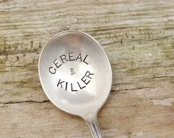 Hand Stamped Spoon Cereal Killer - Skull Crossbones - Vintage Antique Silver Plated - Breakfast - Stocking Stuffer - Gifts for him her