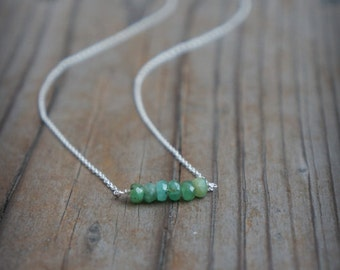Natural Emerald layering Necklace Sterling Silver Necklace Gemstone necklace Birthstone  May Birthstone necklace