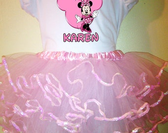 Minnie Mouse Dress Pink 1T,2T,3T,4T,5T,6T,7T,8T birthday 2pc Tutu Outfit