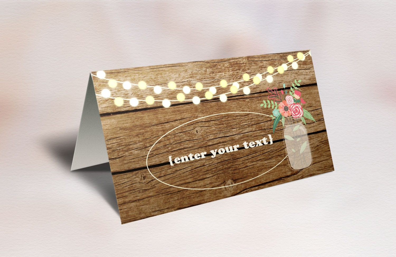 rustic place cards printable folded editable place cards