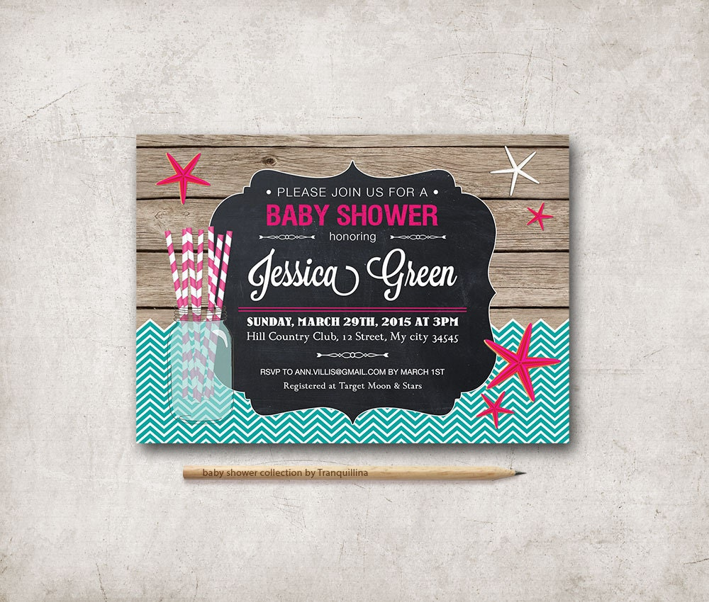 beach baby shower invitation printable girl baby shower