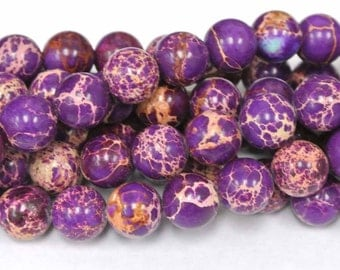 10mm Imperial Jasper Rounds Beads, Round Purple Beads, 1 Strand, Sea Sediment Jasper, Wholesale Beads, Round Beads, Purple Jasper Beads