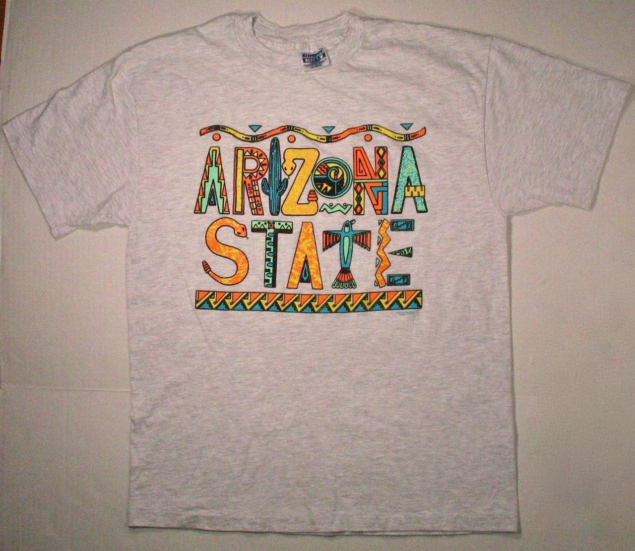 90s arizona state t shirt puff paint design college university Puffy paint shirt designs