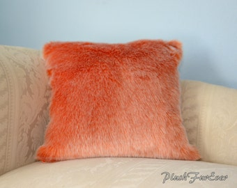 "Faux Fur Pillow Orange Mink Pillows 17"" x 17"" (INSERTS INCLUDED), One Side Fur, One Side Suede"