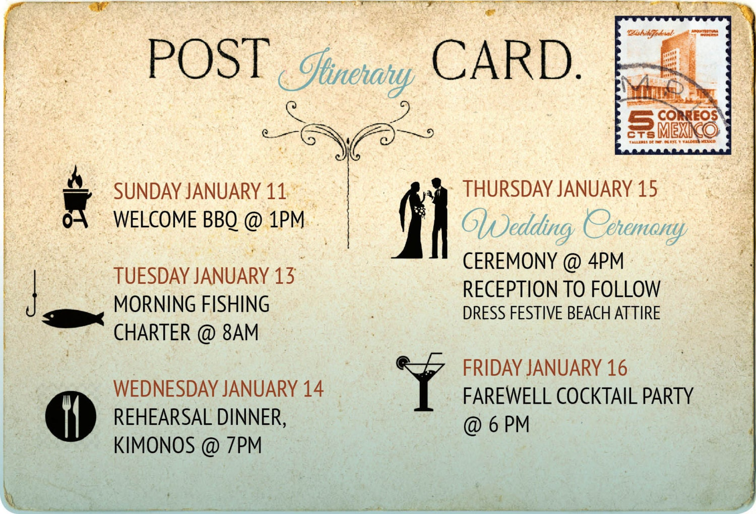 Wedding Program Itinerary Postcard Style // Destination Wedding ...