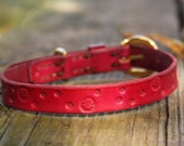 Handmade Pink Flower Stamped Leather Dog Collar