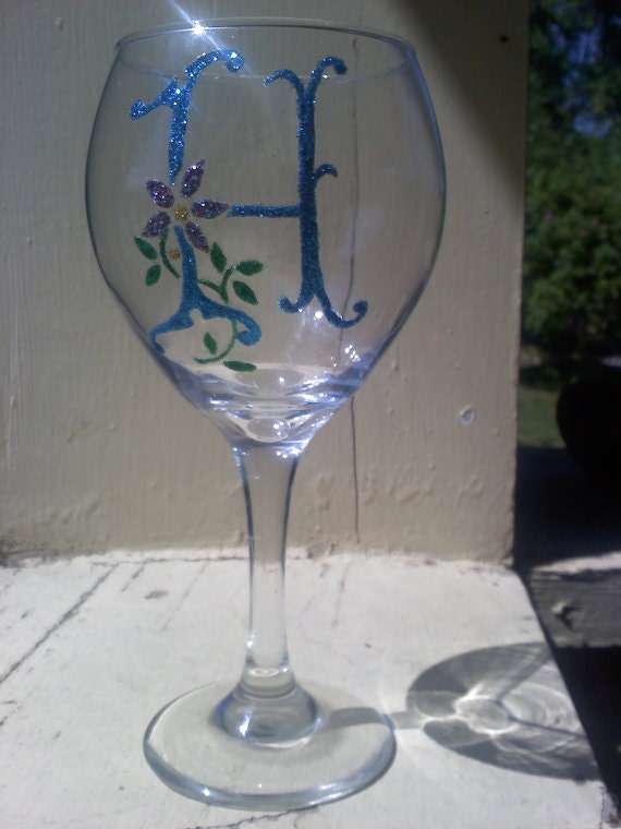 Glitter custom monogram wine glass etched by for Painted wine glasses with initials