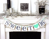 SWEET 16 BANNER Sign Sweet 16 Birthday Banner Photo Prop Birthday Party 16th Birthday Party Supplies Decoration Party Garland