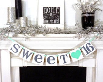 SWEET 16 BANNER Sign Custom Name Personalized Sweet 16