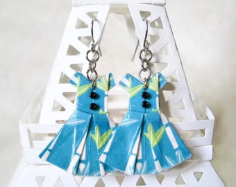 Origami Jewelry - Paper Dress Earrings - Paper Anniversary - Paper Jewelry - Origami Earrings - WC28