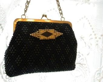 Unique Vintage Evening Bag with Art Deco Embellishment