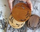 Wood Coasters - Engraved Wood Coasters - Lavender - set of 4