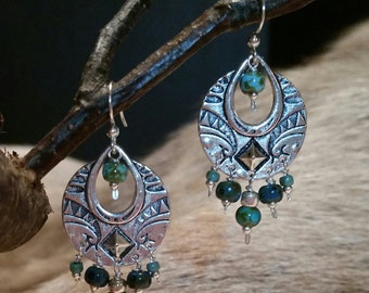 Caribbean Blues and Antiqued Silver Earrings