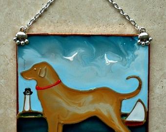 Yellow Labrador Retriever Beach Dog Decor Stained Glass Yellow Lab Art Gift for Dog Lover Gift Suncatcher Wall Art Hanging Labrador Ornament