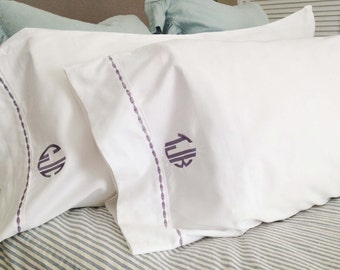Monogram King Pillow Cases with Custom Embroidered Border / Monogram Bedding - Set of 2